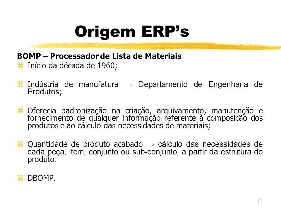 Origem ERP's BOMP – Processador de Lista de Materiais