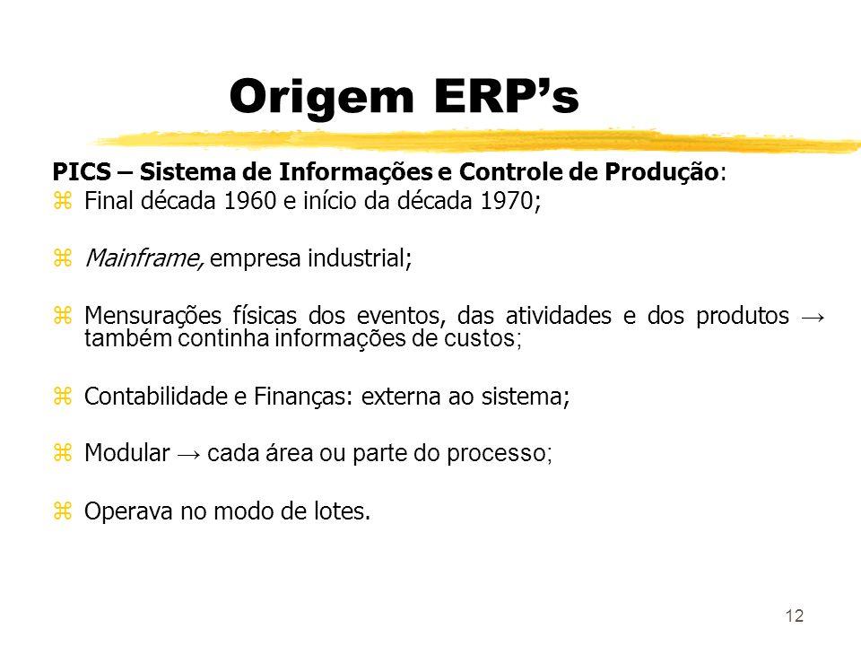 Origem ERP's PICS – Sistema de Informações e Controle de Produção: