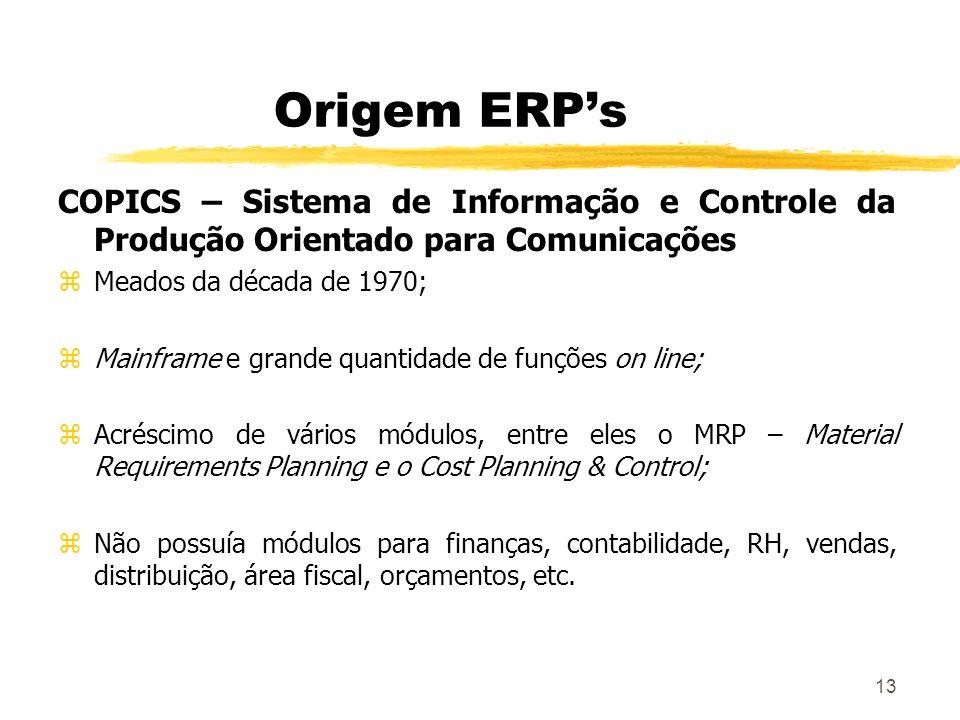 Origem ERP's COPICS – Sistema de Informação e Controle da Produção Orientado para Comunicações. Meados da década de 1970;