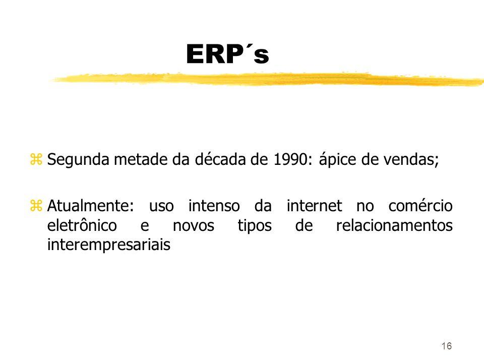 ERP´s Segunda metade da década de 1990: ápice de vendas;