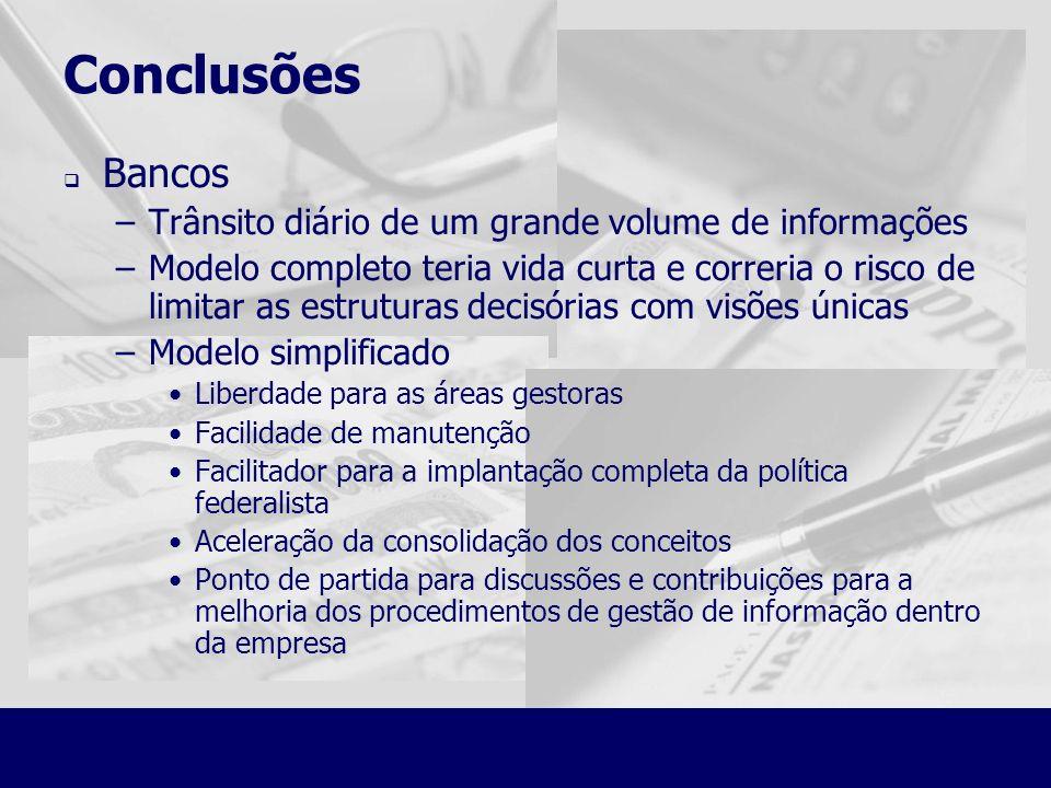 Conclusões Bancos Trânsito diário de um grande volume de informações