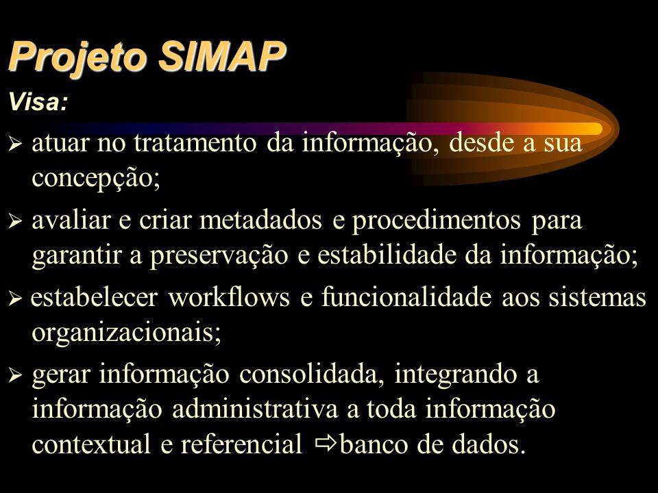 Projeto SIMAP Visa:  atuar no tratamento da informação, desde a sua concepção;