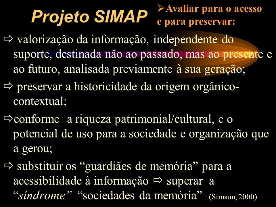 Projeto SIMAP Avaliar para o acesso e para preservar: