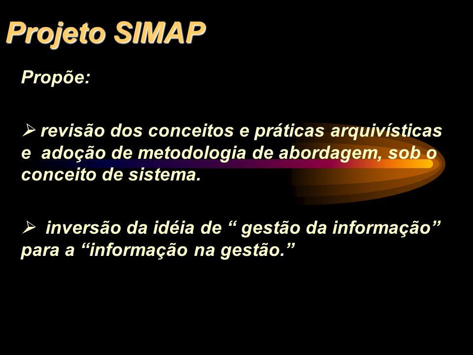 Projeto SIMAP Propõe:  revisão dos conceitos e práticas arquivísticas e adoção de metodologia de abordagem, sob o conceito de sistema.
