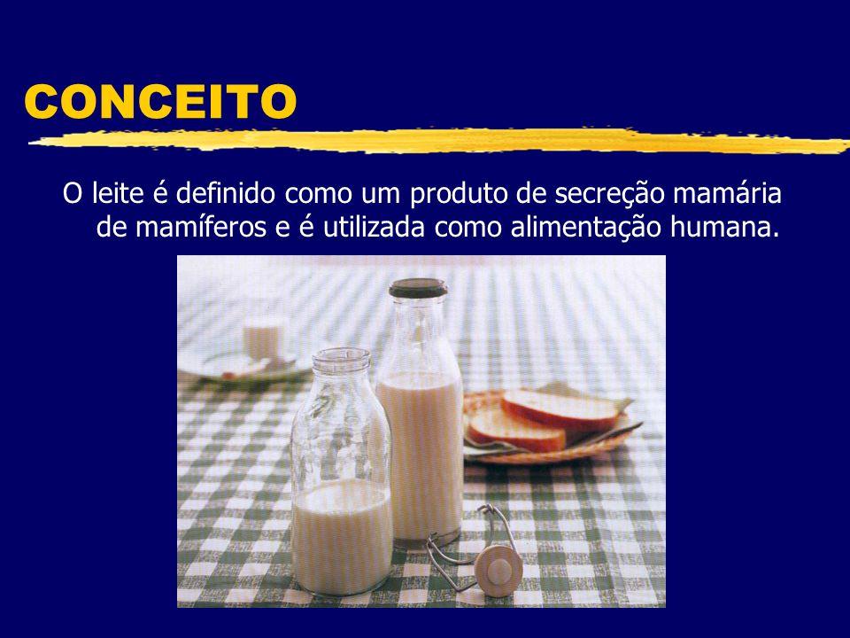 CONCEITO O leite é definido como um produto de secreção mamária de mamíferos e é utilizada como alimentação humana.