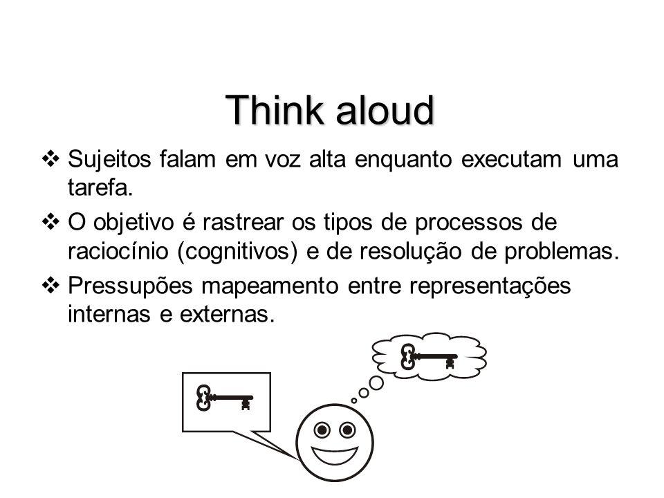 Think aloud Sujeitos falam em voz alta enquanto executam uma tarefa.