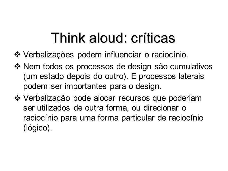 Think aloud: críticas Verbalizações podem influenciar o raciocínio.