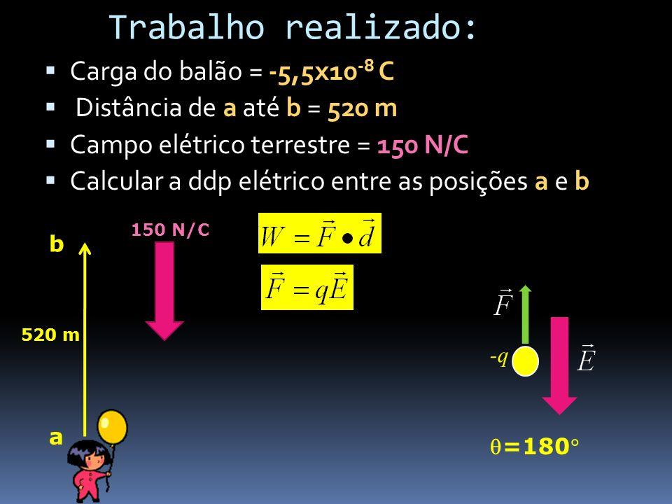 Trabalho realizado: - Carga do balão = -5,5x10-8 C