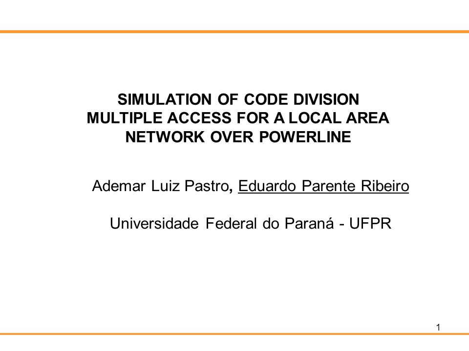 SIMULATION OF CODE DIVISION MULTIPLE ACCESS FOR A LOCAL AREA