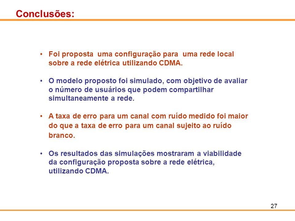 Conclusões: Foi proposta uma configuração para uma rede local sobre a rede elétrica utilizando CDMA.