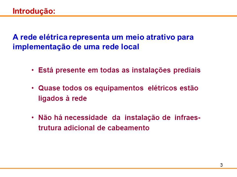 Introdução: A rede elétrica representa um meio atrativo para implementação de uma rede local. Está presente em todas as instalações prediais.