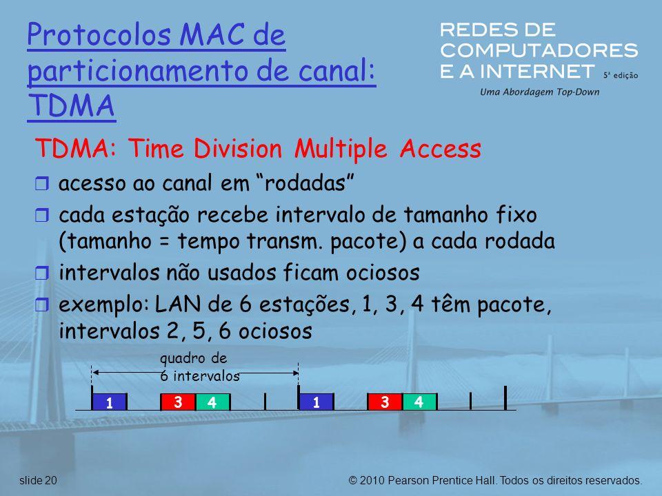 Protocolos MAC de particionamento de canal: TDMA