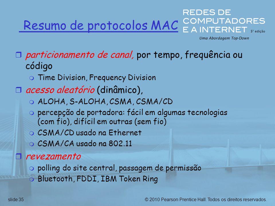 Resumo de protocolos MAC