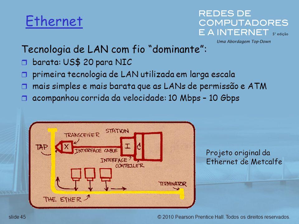 Ethernet Tecnologia de LAN com fio dominante :