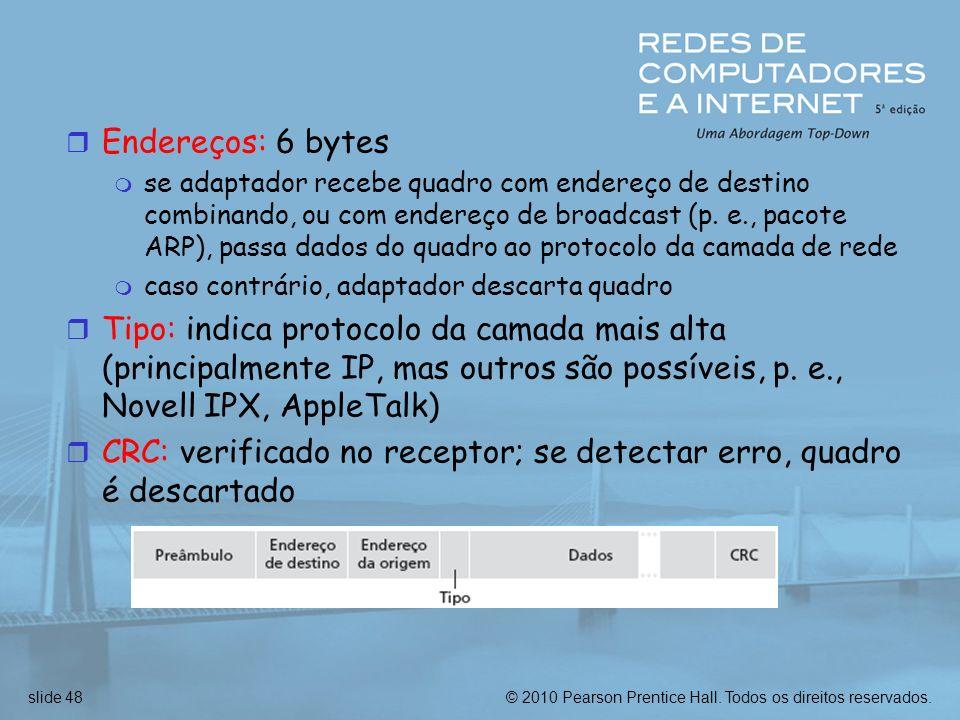 CRC: verificado no receptor; se detectar erro, quadro é descartado