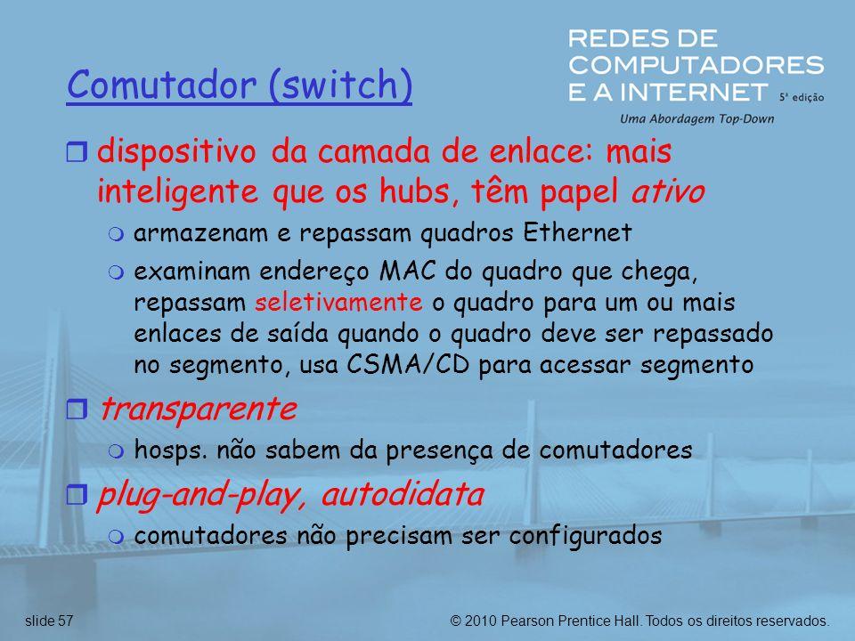 Comutador (switch) dispositivo da camada de enlace: mais inteligente que os hubs, têm papel ativo. armazenam e repassam quadros Ethernet.