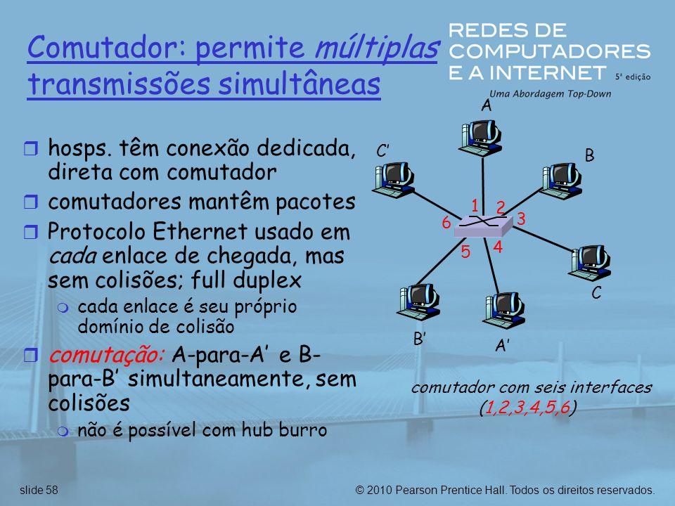 Comutador: permite múltiplas transmissões simultâneas