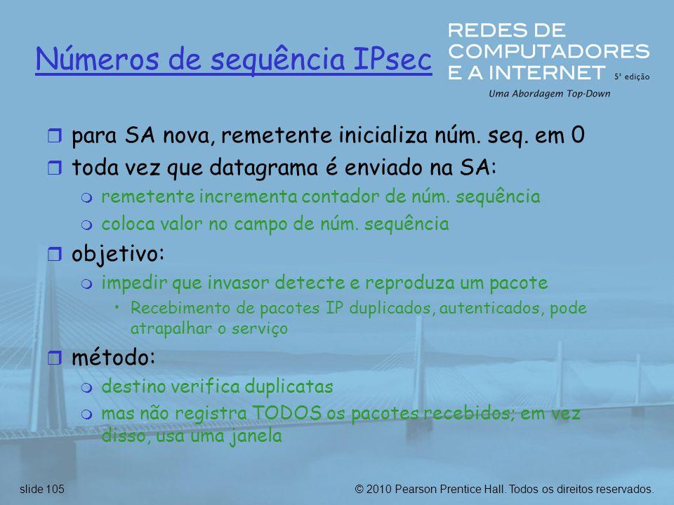 Números de sequência IPsec