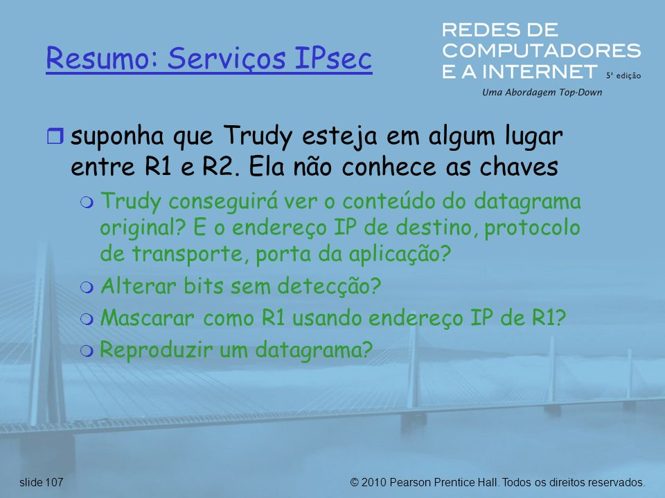 Resumo: Serviços IPsec