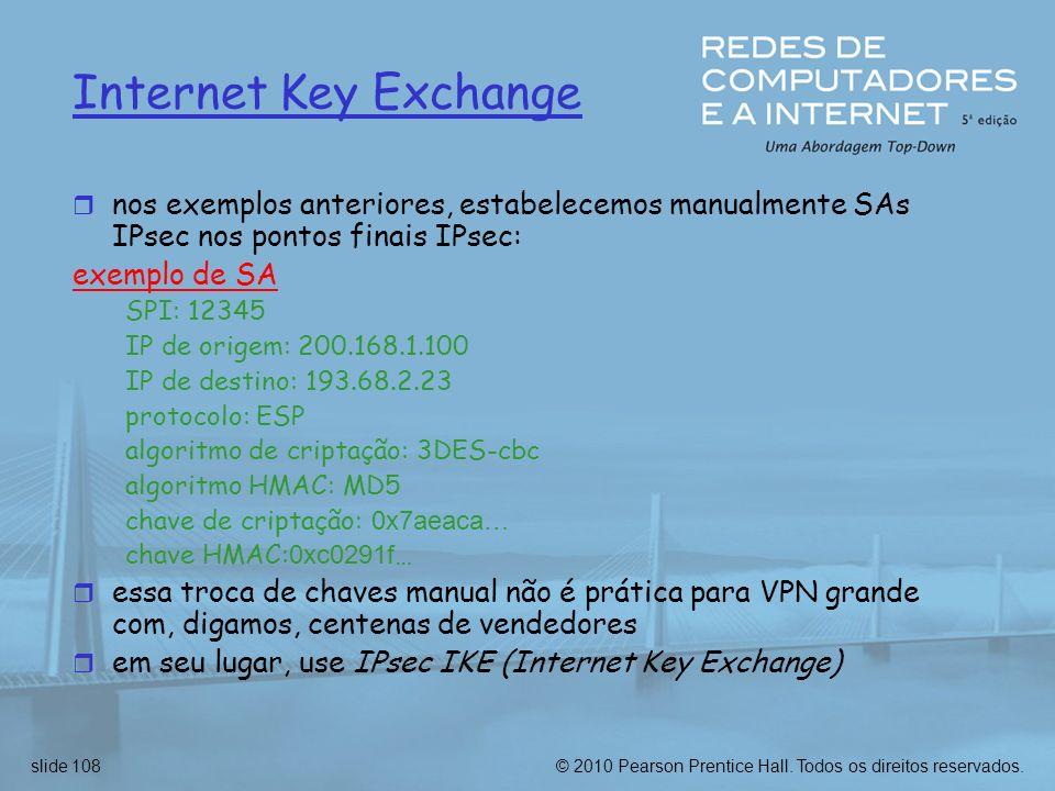 Internet Key Exchangenos exemplos anteriores, estabelecemos manualmente SAs IPsec nos pontos finais IPsec:
