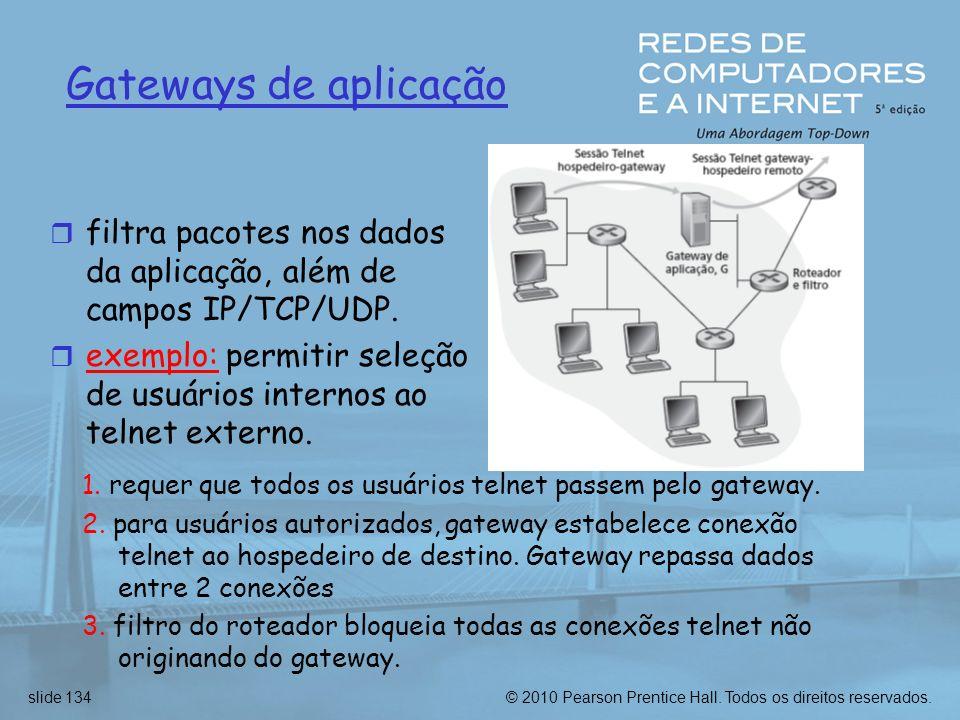 Gateways de aplicaçãofiltra pacotes nos dados da aplicação, além de campos IP/TCP/UDP.
