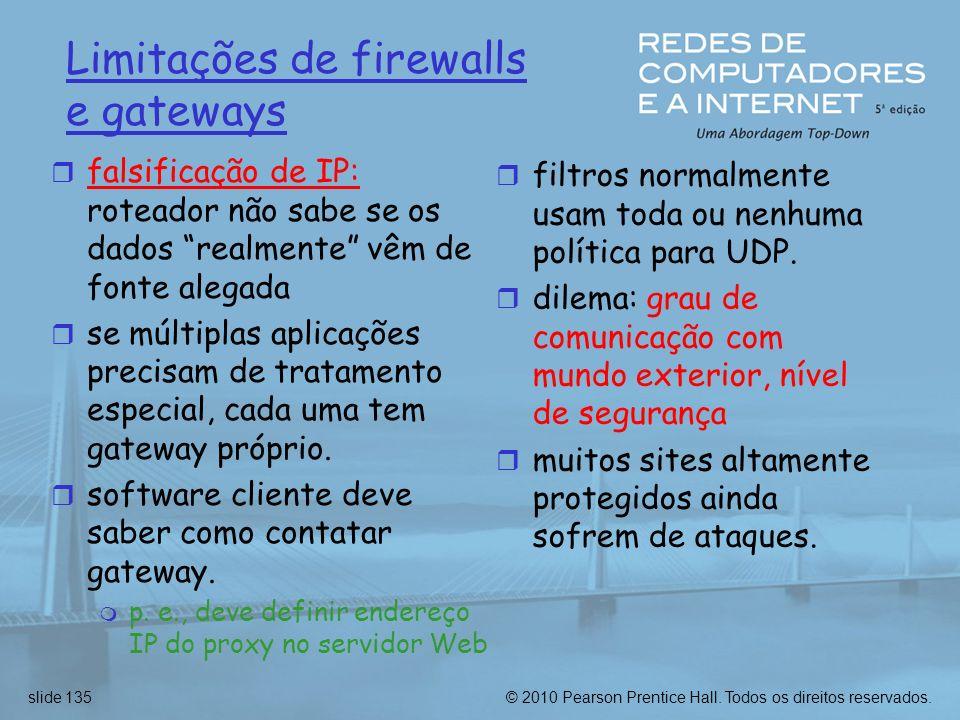 Limitações de firewalls e gateways