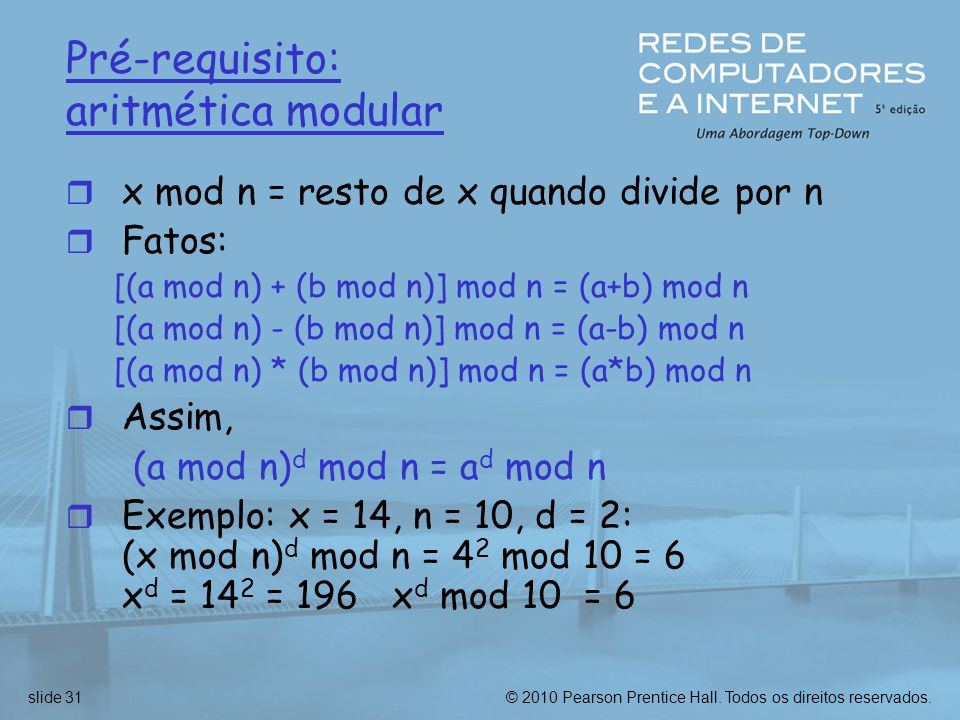 Pré-requisito: aritmética modular