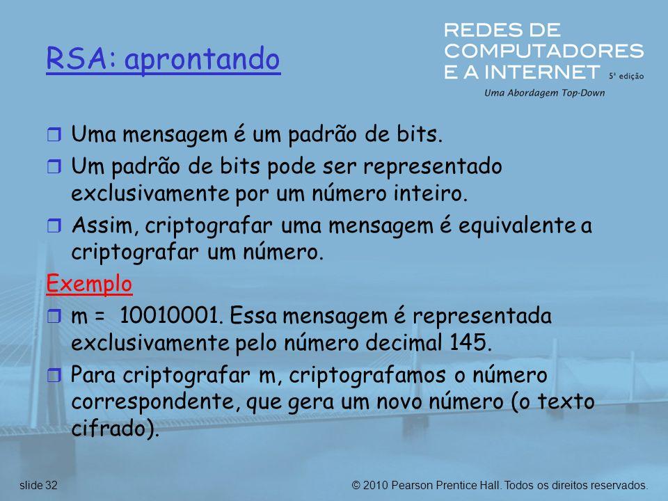 RSA: aprontando Uma mensagem é um padrão de bits.