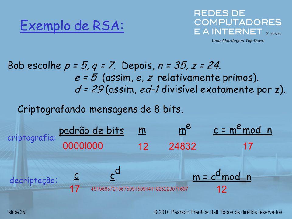 Bob escolhe p = 5, q = 7. Depois, n = 35, z = 24.