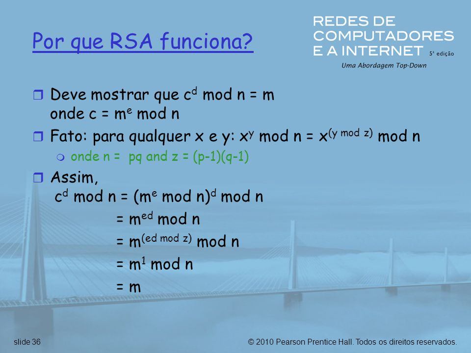 Por que RSA funciona Deve mostrar que cd mod n = m onde c = me mod n