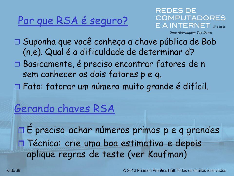 Por que RSA é seguro Gerando chaves RSA