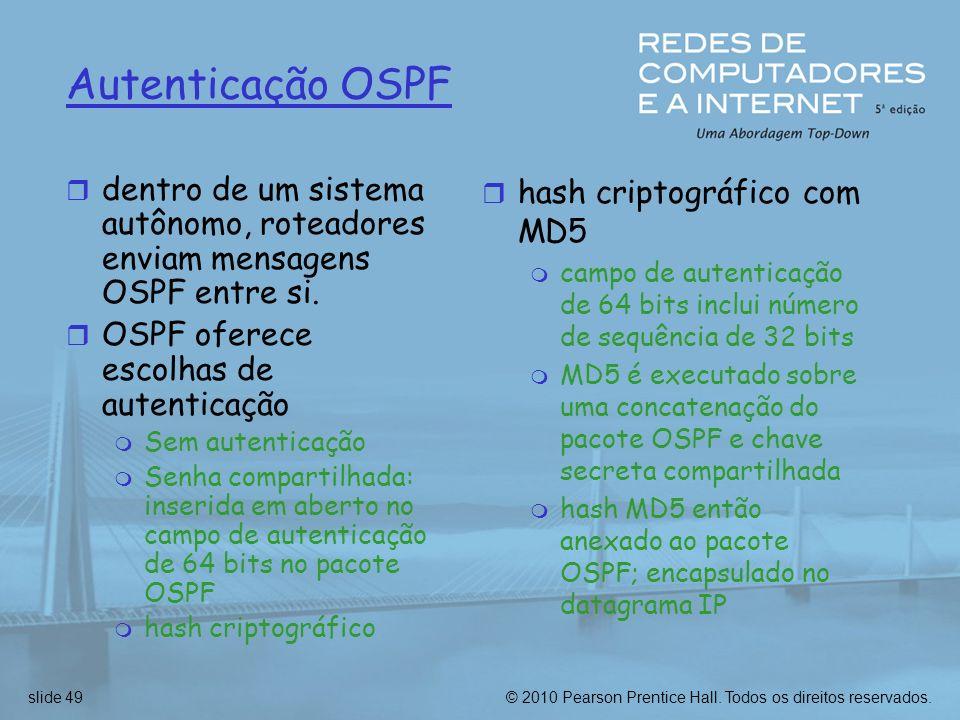 Autenticação OSPF dentro de um sistema autônomo, roteadores enviam mensagens OSPF entre si. OSPF oferece escolhas de autenticação.