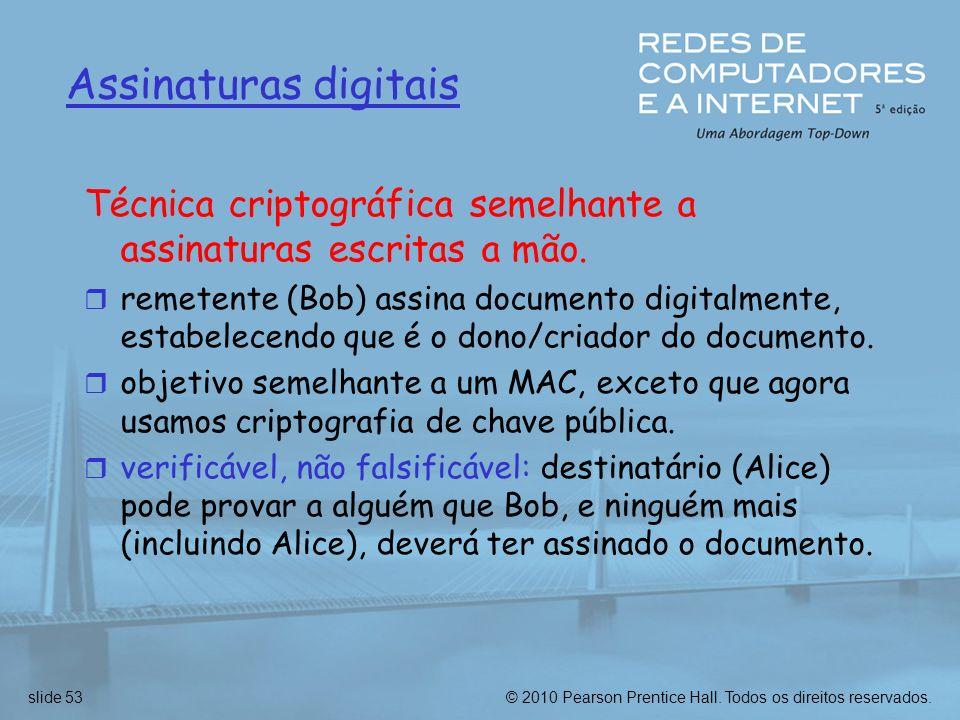 Assinaturas digitais Técnica criptográfica semelhante a assinaturas escritas a mão.