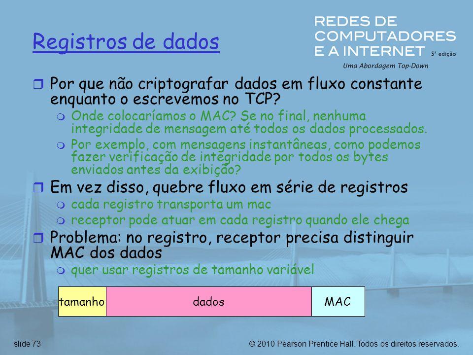 Registros de dados Por que não criptografar dados em fluxo constante enquanto o escrevemos no TCP