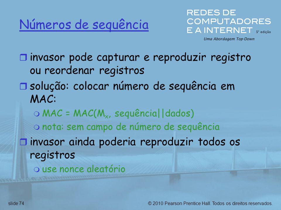 Números de sequência invasor pode capturar e reproduzir registro ou reordenar registros. solução: colocar número de sequência em MAC: