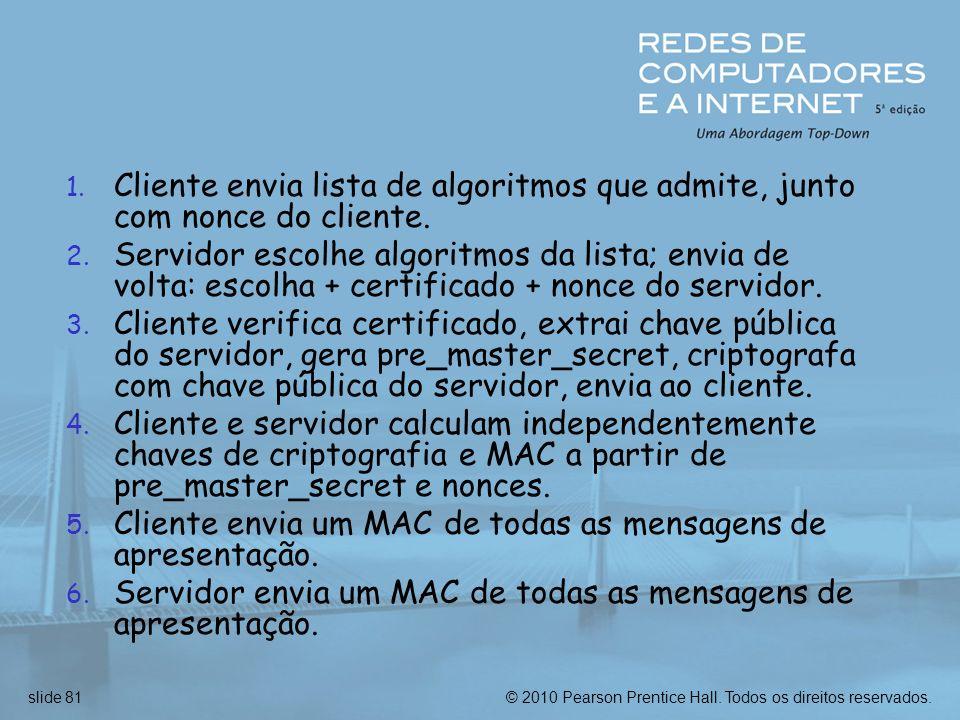 Cliente envia lista de algoritmos que admite, junto com nonce do cliente.