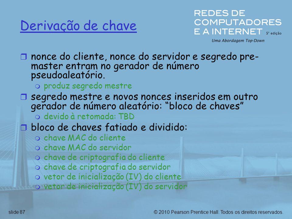 Derivação de chavenonce do cliente, nonce do servidor e segredo pre-master entram no gerador de número pseudoaleatório.
