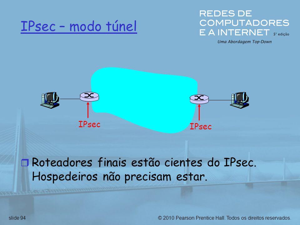 IPsec – modo túnel IPsec Roteadores finais estão cientes do IPsec. Hospedeiros não precisam estar.