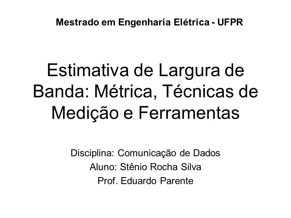 Mestrado em Engenharia Elétrica - UFPR