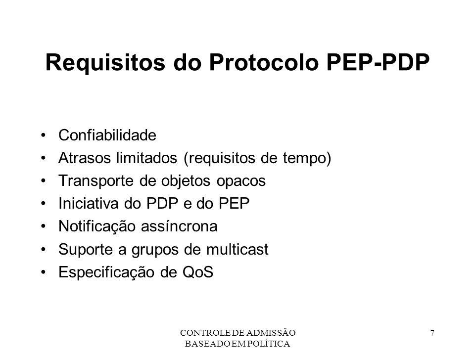 Requisitos do Protocolo PEP-PDP