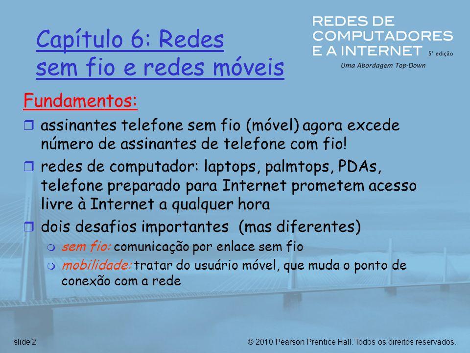 Capítulo 6: Redes sem fio e redes móveis Fundamentos: