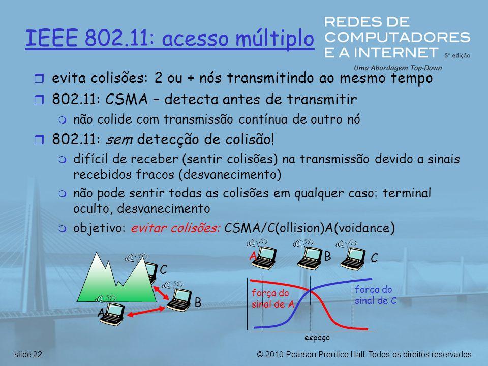 IEEE 802.11: acesso múltiplo evita colisões: 2 ou + nós transmitindo ao mesmo tempo. 802.11: CSMA – detecta antes de transmitir.