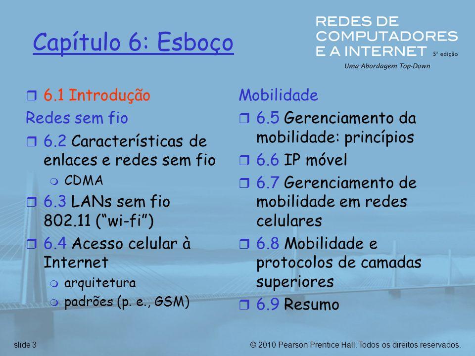 Capítulo 6: Esboço 6.1 Introdução Redes sem fio