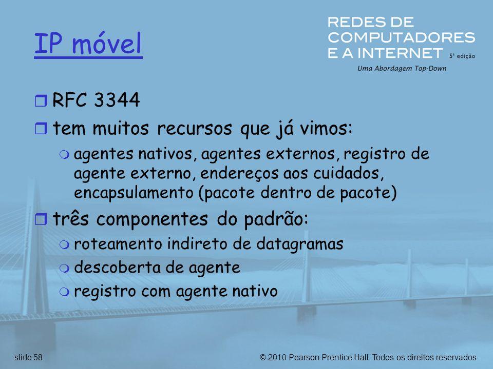 IP móvel RFC 3344 tem muitos recursos que já vimos: