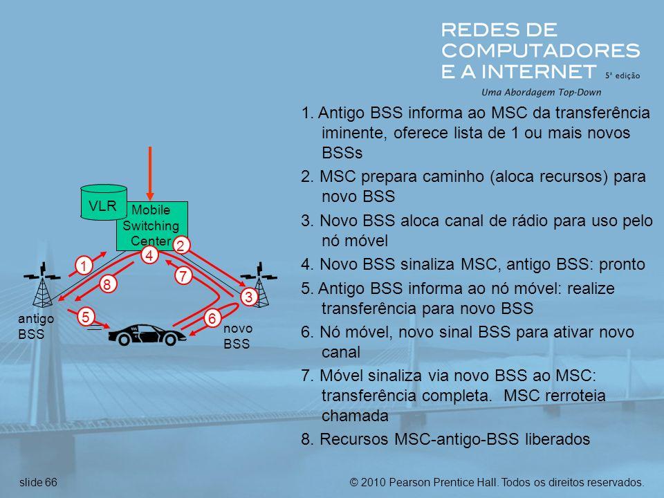 2. MSC prepara caminho (aloca recursos) para novo BSS
