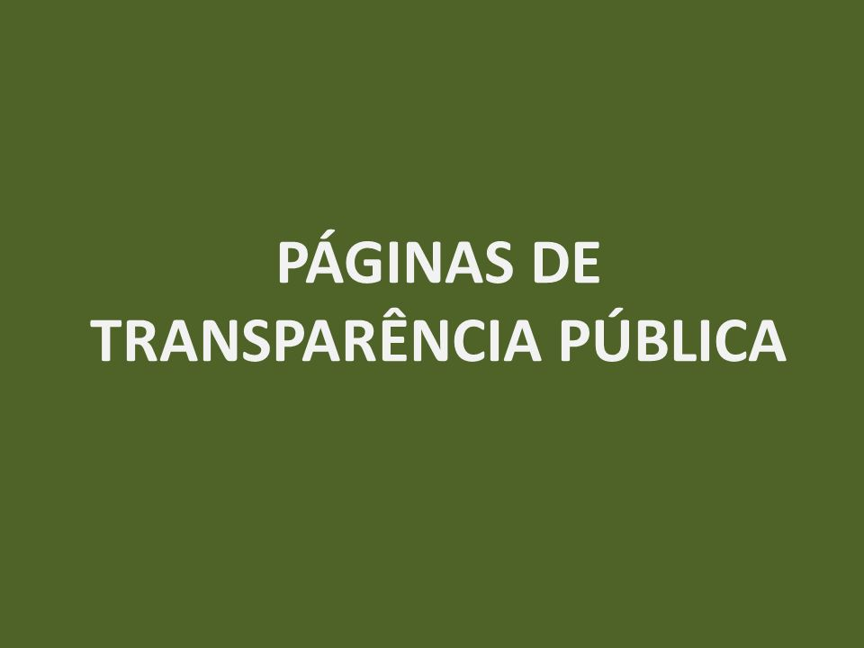 PÁGINAS DE TRANSPARÊNCIA PÚBLICA
