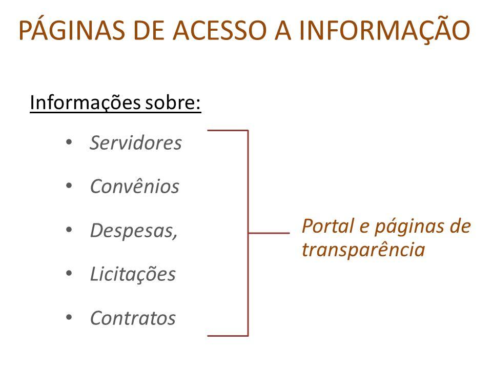 PÁGINAS DE ACESSO A INFORMAÇÃO