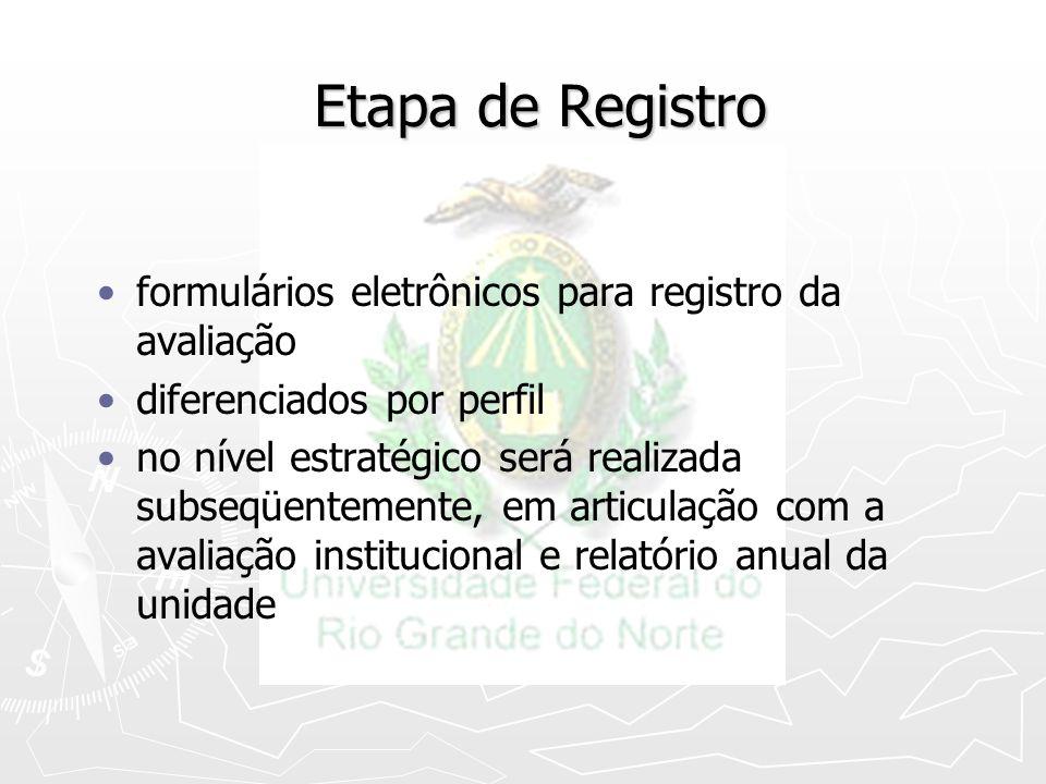 Etapa de Registro formulários eletrônicos para registro da avaliação