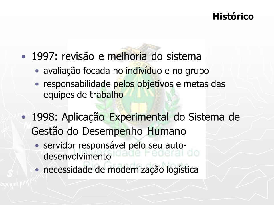 1997: revisão e melhoria do sistema