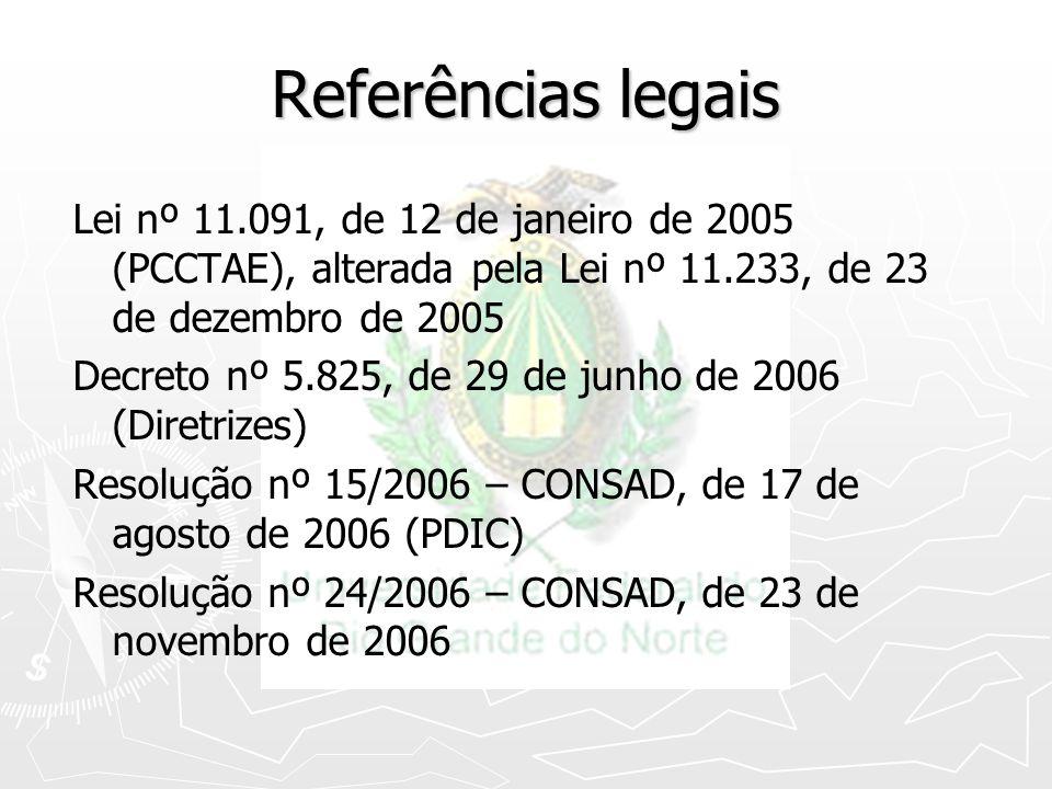 Referências legais Lei nº 11.091, de 12 de janeiro de 2005 (PCCTAE), alterada pela Lei nº 11.233, de 23 de dezembro de 2005.